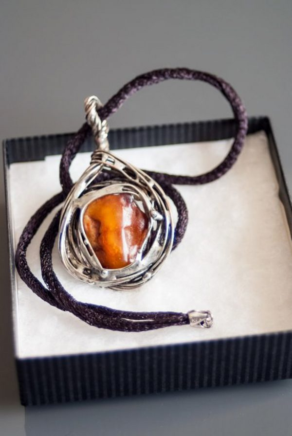 Two side Baltic Amber Necklace - Two side Baltic Pendant designed by Ertisun 2