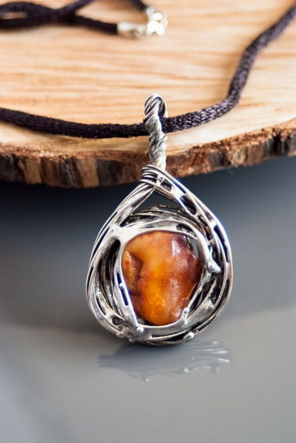 Two side Baltic Amber Necklace - Two side Baltic Pendant designed by Ertisun
