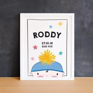 new baby print by pickled pom pom personalised for unique baby gift