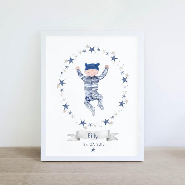Little Boy Blue personalised print pickled pom pom baby gift