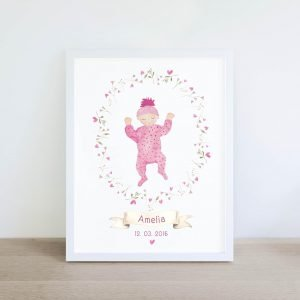Bloom in Love - New Baby Girl personalised print by pickled pom pom