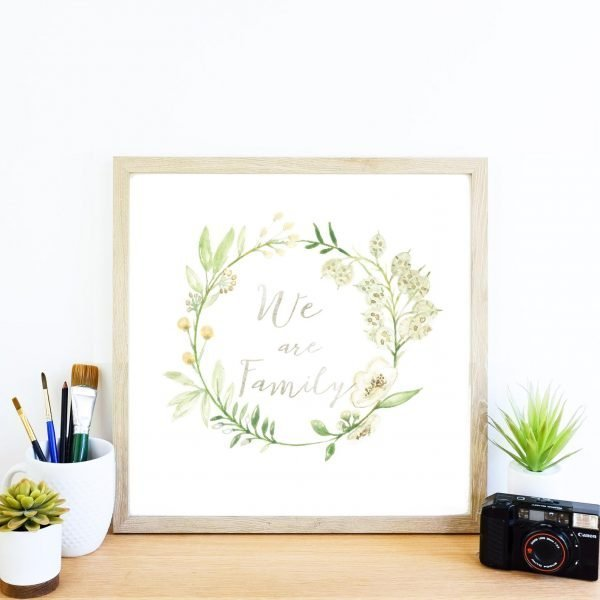 we are family print by pickled pom pom floral design