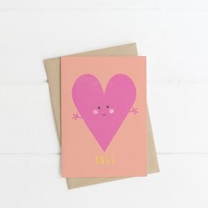 hugs card lilly & bright irish designed pink heart greeting card