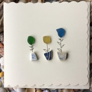 Flower Pots Greeting Card seaglass