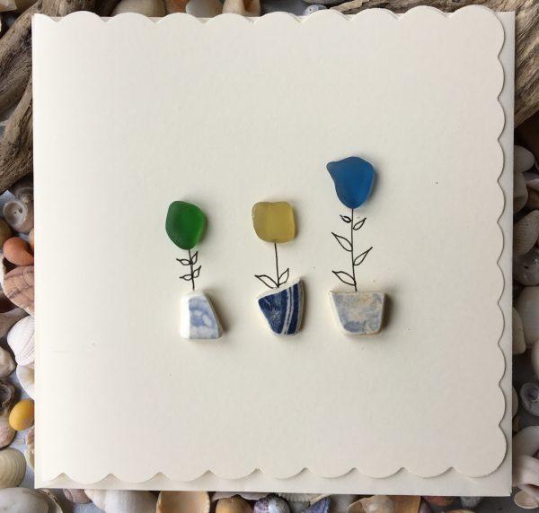 Flower Pots Greeting Card seaglass
