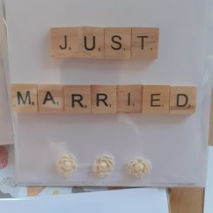 just married handmade card scrabble tiles