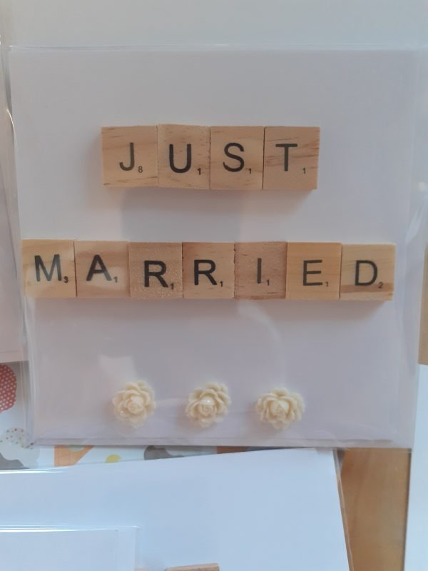 just married handmade card scrabble tiles