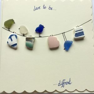 dare to be different seaglass card birds