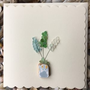 Flower Bouquet Seaglass Greeting Card