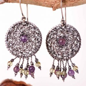 Amethyst in the Silver Net Earrings Ertisun