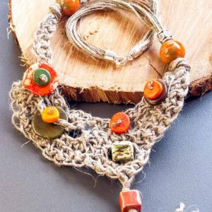 Asymmetrical Linen Necklace Handmade jewellery ertisun