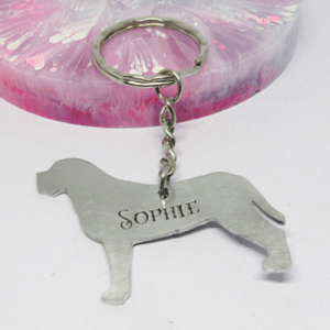 Border Terrier Dog Breed Keyring personalised gift elle and bee