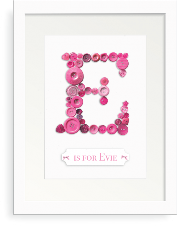 Button Art Frame Initial E is for Evie Oregano Designs
