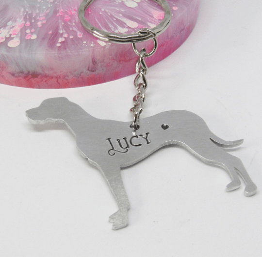 great dane keyring personalised gift personalised dog keyring Elle and Bee