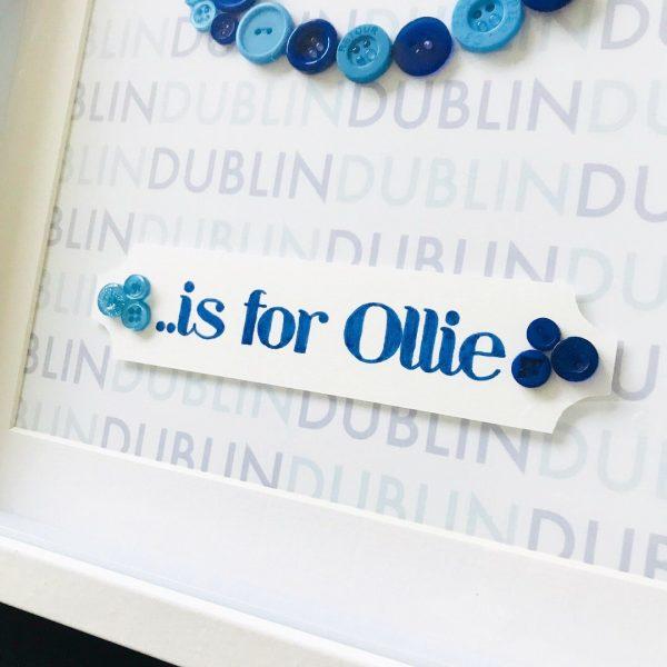 GAA County Button Art Frame Initial Oregano Designs
