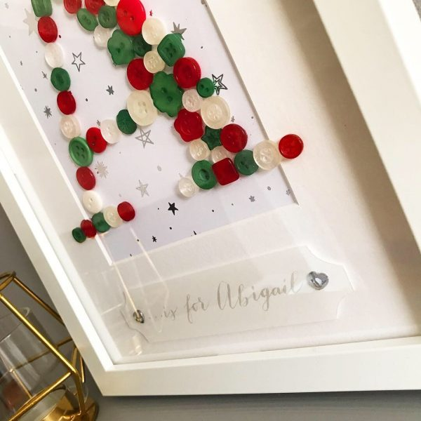 Baby's first Christmas personalised gift button initial frame oregano designs