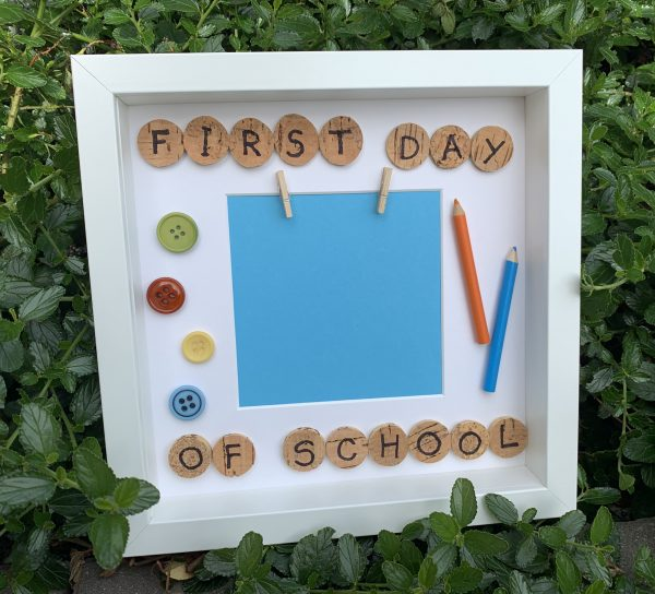 First day of school photo frame blu and orange
