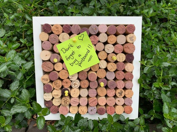wine cork pin board with note
