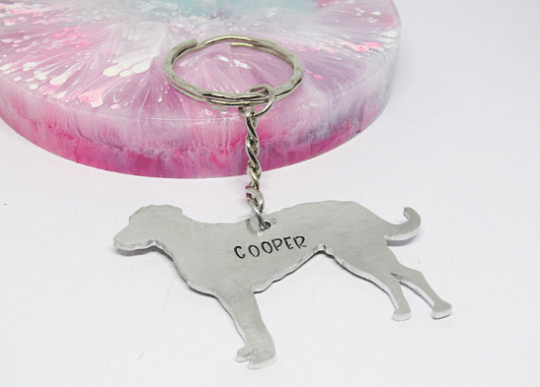 lurcher dog keyring handmade personalised dog keyring