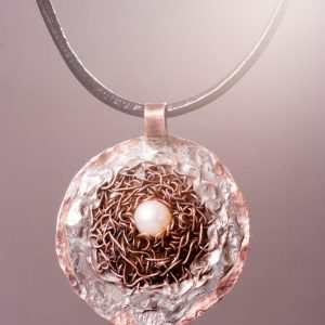 Pearl in the Net Necklace Ertisun copper pendant