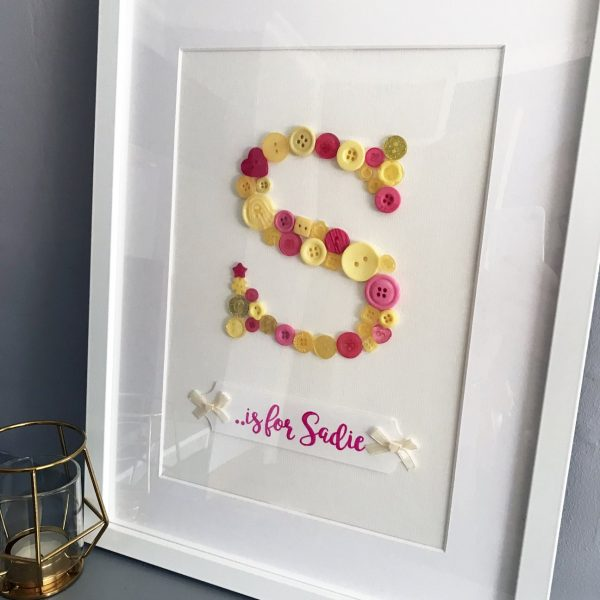 Button Art Frame Initial S is for Sadie Oregano Designs