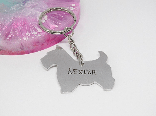 scottie dog keyring personalised handmade gift