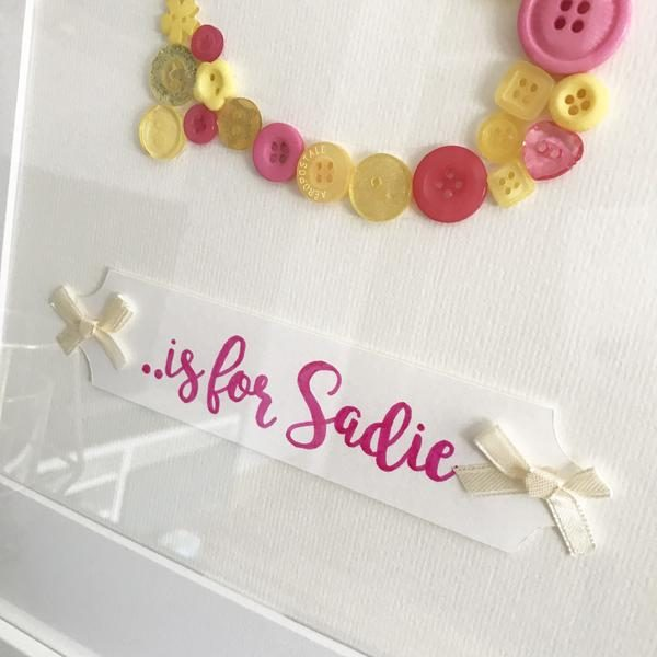 Button Art Frame Initial S is for Sadie close up Oregano Designs