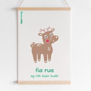 Irish red deer print lapa beag fia rua