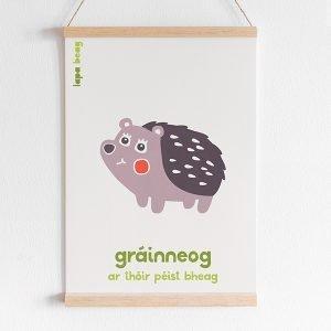 Irish hedgehog print lapa beag Gráinneog