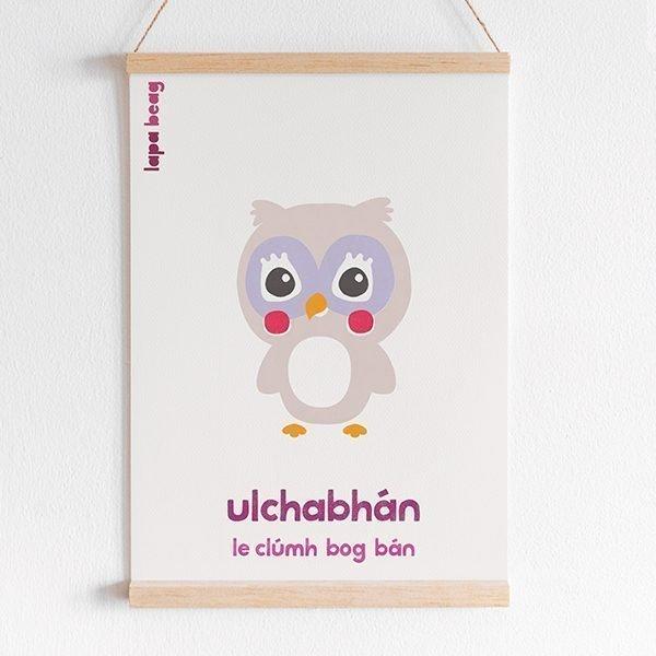 Irish Owl print lapa beag Ulchabhán