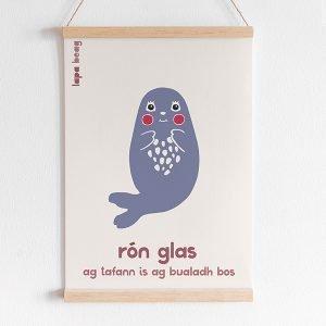 Irish seal print lapa beag Rón Glas