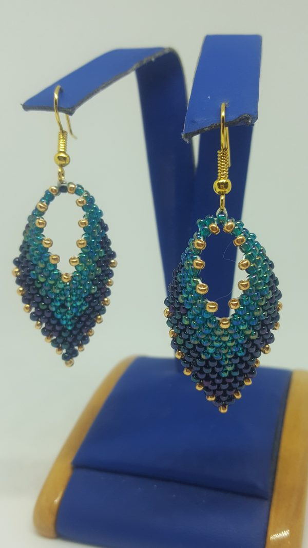 Green and Gold Leaf Earrings - 20190902 183954