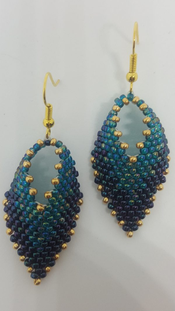 Green and Gold Leaf Earrings Unique2u by emily bead earrings