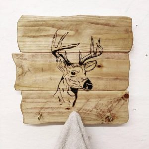 wooden deer hooks coat rack rustic wooden plaque