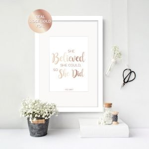 she believed she could inspirational quote print