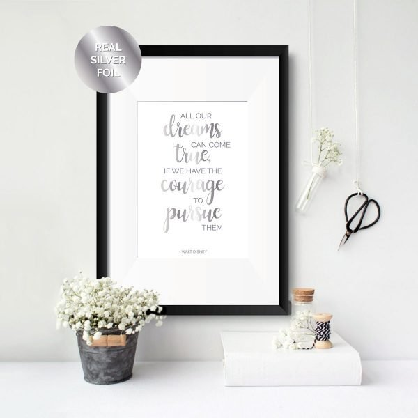 dreams come true walt disney inspirational quote print