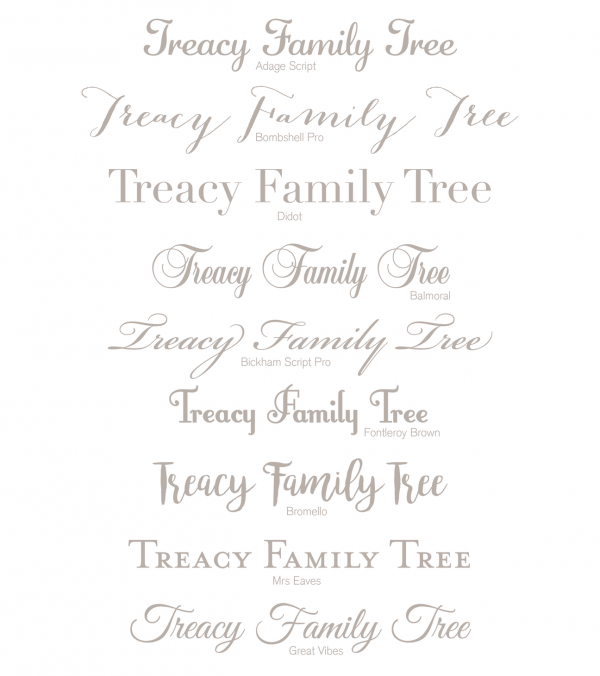 family tree fonts