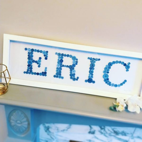 personalised blue button name frame