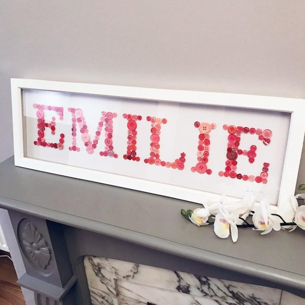 personalised pink button name frame