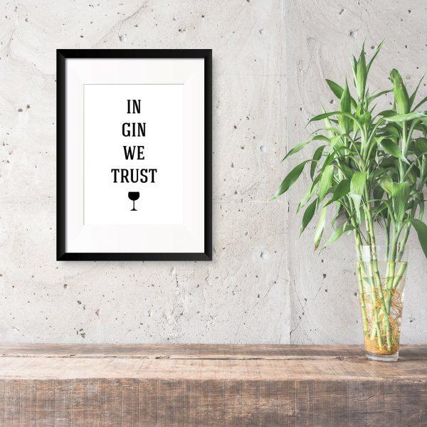 in gin we trust foil print