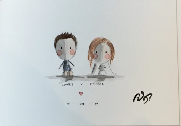 Commissioned Wedding Painting rachael darby personalised wedding gift