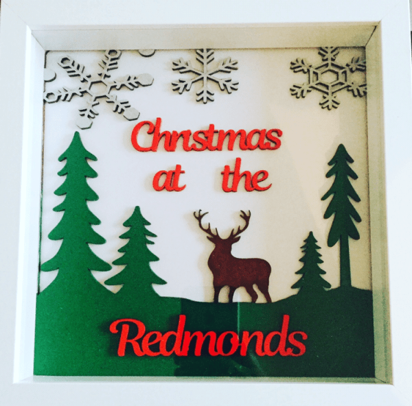 personalised christmas frame with reindeer