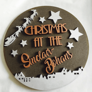 personalised christmas plaque brown and orange