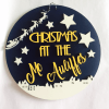 personalised christmas plaque yellow and navy