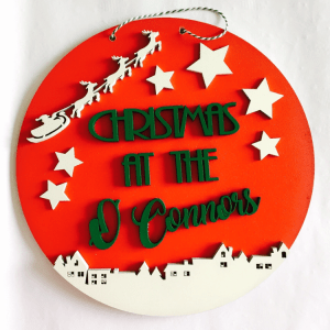 personalised Christmas Plaque red and green