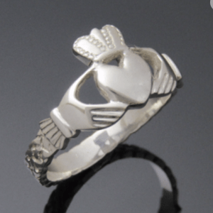 Sterling Silver Claddagh Ring with Braid Band