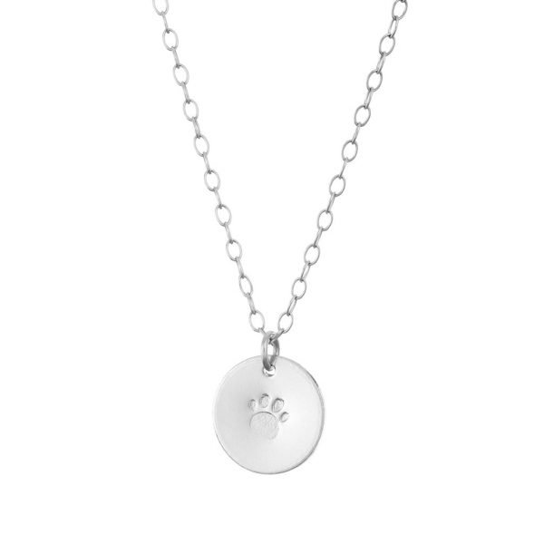 personalised pendant paw print silver chain