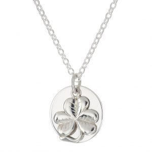shamrock charm personalised initial necklace de blaca jewellery