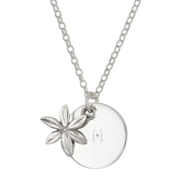 personalised silver daisy charm pendant