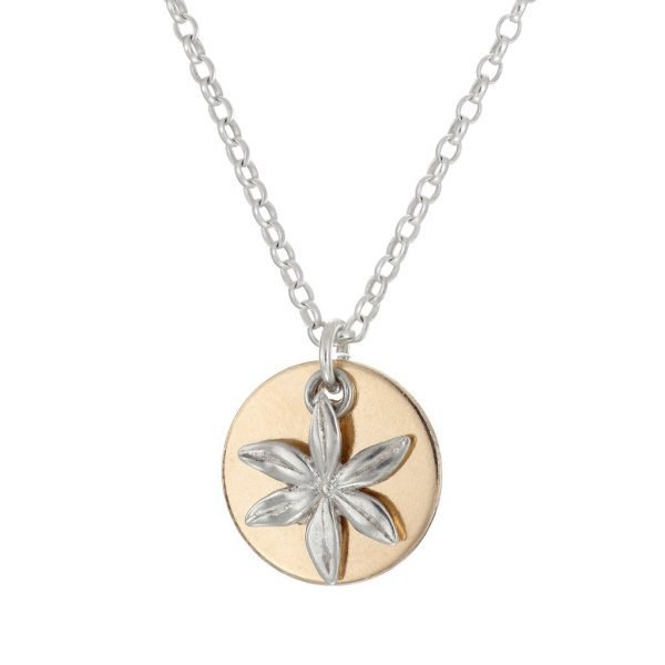gold and silver daisy necklace personalised initial pendant